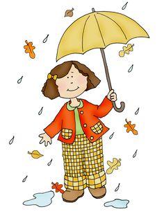 Free Dearie Dolls Digi Stamps: Autumn Rain
