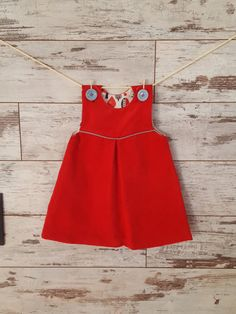 Girls Red Pinafore Red dress Dungaree dress Kids clothes...