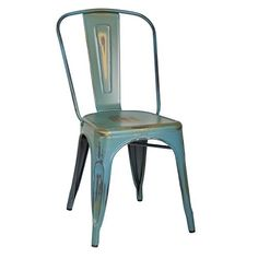 Office Star Bristow Metal Seat and Back Armless Chair, Antique Sky Blue, 4-Pack