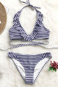 9b732e791 Purple and White Stripe Bikini Set – Cupshe Best Swimwear