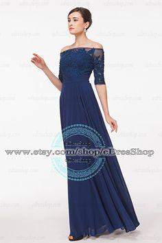 3 4 Sleeves Modest Evening Dress Dark Blue Prom Dress by eDresShop Dark  Blue Prom 7e1ea1fbf