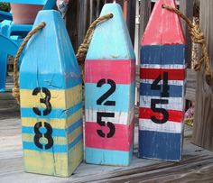 Nautical Buoys Set of 3 STRIPED Custom Colors by justbeachyshop