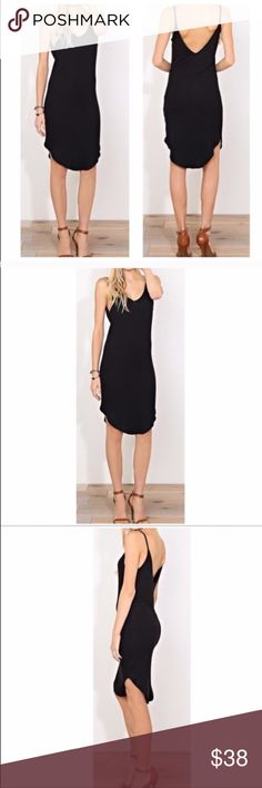 Low Back Black Dress Great fitting low back dress imported rayon spandex knit blend. Dresses