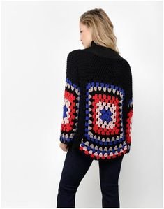 Get the ultimate breezy boho look in the Dot Cotton Sweater. Featuring an airy open stitch and large multi-coloured square motifs, the Dot Cotton Sweater is. Crochet Bolero, Cardigan Au Crochet, Bonnet Crochet, Crochet Motifs, Crochet Jacket, Crochet Poncho, Crochet Beanie, Crochet Cardigan, Crochet Granny