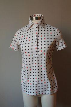 70 s vintage women s polkadot collarstand polo shirt    100 percent  polyester    red 976b43b51a