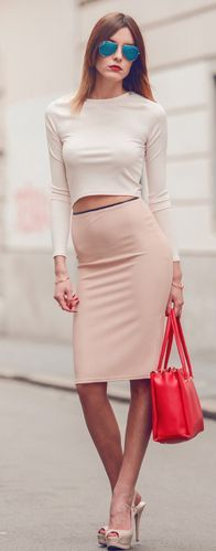 Nude High Rise Body-con Midi Skirt by Carolina Krews rehearsal dinner love the nude/pink with white