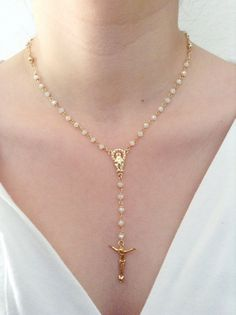 Gold rosary Necklace, Delicate white crystal and gold filled Rosary,14k gold filled, Gold plated crucifix Cross Pendant, Women Necklace #etsymntt #etsyretwt