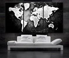 GROßE 30 x 60 '' 3 Panels Art Canvas Print Welt Karte schwarz