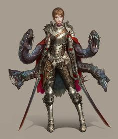 sekigan, knight, four black worms, red cloak, brown hair, female, girl, woman, duel wielding swords. half plate. Character Art, Fantasy Character Design, Character Concept, Character Portraits, Armors, Hydra Monster, Knights, Dnd Characters, Female Characters
