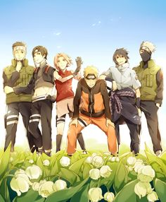 Yamato, Sai, Sakura, Naruto, Sasuke, and Kakashi #flowers