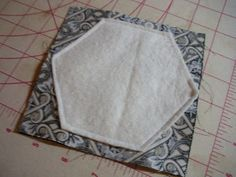 "sew & flip hexagon tutorial! | Jaybird Quilts.  It is a ""quilt as you go"" method, very cool."