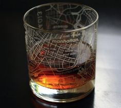 Maps Rocks Glass - A hand-etched, 10 oz Maps Rocks Glass with custom wraparound street maps of kick-ass cities.Pour a stiff one into your favorite cityscape and watch it disappear like a sunset.