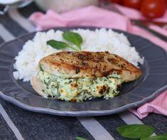 Spenótos-fetás töltött csirkemell Recept képpel - Mindmegette.hu - Receptek Salmon Burgers, Feta, Lunch, Dinner, Cooking, Ethnic Recipes, Dining, Kitchen, Eat Lunch