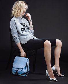 intermix spring look 16: markus lupfer sweatshirt, j brand top and short, aquazzura pumps, barbara but bag