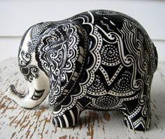 Lucky Elephant Bank White Ceramic Elephant by StephanieCeramics