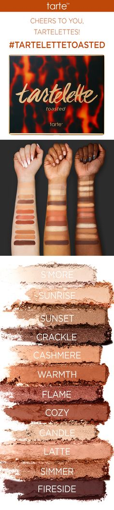 Swatches of our NEW #tartelettetoasted eyeshadow palette! A party-in-a-palette featuring 7 wearable mattes and 5 lustrous shimmers. Available now on tarte.com! #tartecosmetics #gettoasted #tartelette3