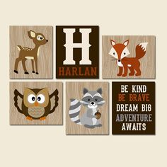 ★WOODLAND Wall Art, CANVAS or Prints Nursery Decor, Forest Animals, Forest Pals, Deer OWL Bear Fox Be Kind Be Brave, Boy Name Set of 6  ★Includes 6