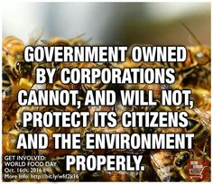Government owned by corporations cannot, and will not, protects its citizens & the environment properly.