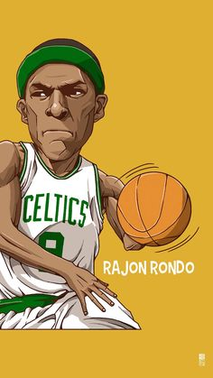 Rajon Rondo. Tap to see Collection of Famous NBA Basketball Players Cute Cartoon Wallpapers for iPhone. - @mobile9
