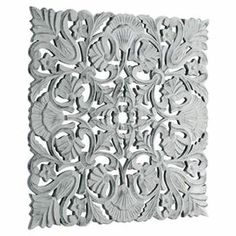 """Add classic appeal to your living room or entryway with this eye-catching wall decor, showcasing a scrolling motif and openwork design.  Product: Wall decorConstruction Material: WoodColor: GreyFeatures:  Scrolling motifOpenwork designDimensions: 27.5"""" H x 27.5"""" W x 1"""" D"""
