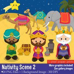 Nativity Scene clipart Clip art and digital paper set