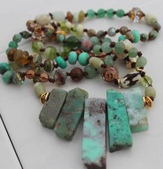 Long Hand Knot Beaded Necklace Stunning Chyrophase necklace Treat yourself..... to a piece of really exquisite jewelry. Gorgeous gemstones and Czech crystals adorn this stunning long gemstone hand knotted necklace. Natural stones of Chyrophase, czech crystals, labordorite, antiqued