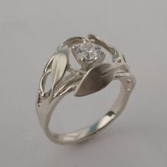 Leaves Engagement Ring No. 5  14K White Gold and by doronmerav, $1000.00