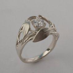Leaves Engagement Ring No. 5 - 14K White Gold and Diamond engagement ring, engagement ring, leaf ring, filigree, antique,art nouveau,vintage