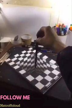 Art Drawings Beautiful, Art Drawings Sketches Simple, Art Drawings For Kids, Pencil Art Drawings, 3d Pencil Art, Illusion Paintings, Illusion Art, 3d Art Drawing, Easy 3d Drawing