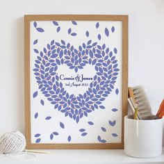 Unique Wedding Guestbook Signature Print. Personalized wedding art Poster. Guest book Alternative Heart 150 - 200 guests A3
