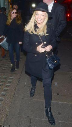 Spice reunion: Radio presenter Emma Bunton looks happy as she leaves Sexy Fish restaurant ...