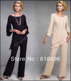 Free Shipping Fashion  Crew Neckline  Chiffon    Pant Suits (colors vary $90.00)