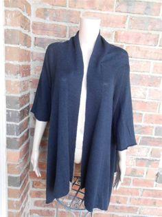 J JILL Linen Blend Draped Cardigan Size L Women Tunic Sweater Top Black #JJill #Cardigan