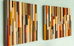 Wood Wall Art, Modern, 3D Abstract skinny wood stripes, hand painted, dyed and varnished. Each piece is painted in unique acrylic or wood dye colours mixed by me, and not available in any shop, making the sculpture unique and one of a kind. Each wood piece is hand sanded, dyed or painted to receive this modern abstract look piece. Wood pieces can be hang side by side to fill out larger wall space. Sculpture is smooth to touch and matt varnish is given to add this perfect protection to it…