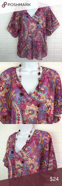 Chaps M Pet. Purple Pink Paisley Sheer Kimono Top Chaps Petite M Purple Pink Paisley Sheer Boho Top  Made in Sri Lanka 100% Polyester  Gorgeous Tunic/Kimono blouse Great for layering pre-loved, in excellent condition  armpit to armpit:  approximately 23 inches (is a dolman/batwing sleeve blouse_ length (top back center of blouse to bottom of blouse):  24 inches   Pretty, vibrant color  same/next day shipping why not bundle & save more? Thank you for shopping my closet!  Stock: P 3 Chaps Tops…