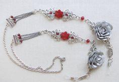 Red silver eyeglass chain Sunglasses chain by CrazyDreamsJewelry