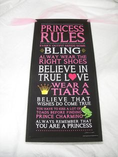 Black Princess Rules Dreams come true wooden Wall Art sign Girls Bedroom Decor on Etsy, $19.99