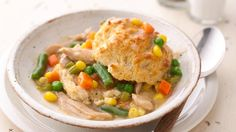 Slow Cooker Upside Down Chicken Pot Pie.       No, you don't have to turn your slow cooker upside down to enjoy this savory pot pie.  Pop biscuits in the oven about 30 minutes before it's done, then serve the chicken mixture over the biscuits.  Bottoms up!