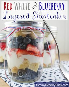 Red, White & Blueberry Layered Shortcakes in a jar! Pound cake layered with strawberries, blueberries & whipped cream to make a fun and delicious patriotic treat! #4thofjuly #dessert