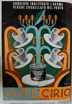 Caffe Cirio advertisement in designed by Fortunato Depero in Domus 97 1936.