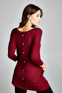 Tunic blouse , burgundy accented with buttons in back