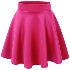 MBJ Womens Basic Versatile Stretchy Flared Skater Skirt ($21) found on Polyvore featuring women's fashion, skirts, bottoms, faldas, pink, flared hem skirt, pink skirt, skater skirt, circle skirt and flare skirt