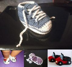 Tennis Shoes CROCHET PATTERN, Car Booties, Hello Kitty Booties, , Strappy Sandals, 4 sizes Baby or Toddler Slippers by angela1alex