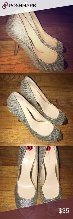 "Gold heels 👠 Open toed. 3"" or so. Never warn! Nine West Shoes Heels"