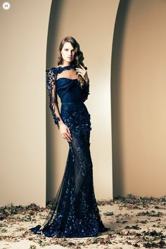 The Ziad Nakad Fall/Winter 2014 Haute Couture Collection Navy Blue Evening Gown, Evening Dresses, Prom Dresses, Blue Gown, Dress Prom, Club Dresses, Dresses 2014, Wedding Dress, Quinceanera Dresses