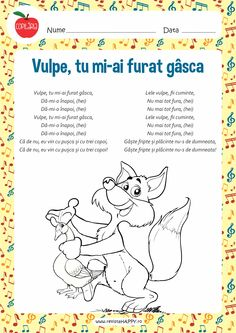 Vulpe, tu mi-ai furat rata Motor Skills Activities, Activities To Do, Kids Poems, Baby Play, Kids Education, Nursery Rhymes, Kids And Parenting, Childhood Memories, Kindergarten