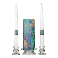 Colorful Dragonflies Unity Candle Set
