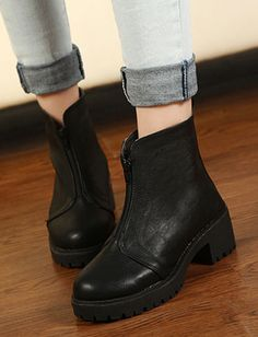 Baroque Style Zip Front Basic Boots for Women Boots Code, Cheap Boots, Baroque Fashion, Chelsea Boots, Booty, Zip, Stuff To Buy, Shopping, Clothes