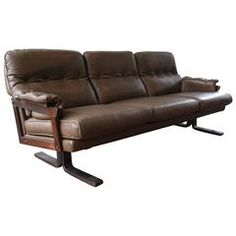 Arne Norell Leather Sofa with Hand Stitching