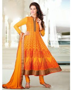 Orange embroidered anarkali suit   1. Orange heavy embroidered georgette anarkali suit2. Comes with matching bottom and dupatta3.Can be stitched upto size 40 inches and top length 52 inches